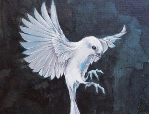 WHITE BIRD 28 X 23CM