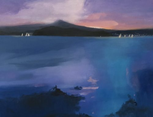 SUNSET OVER LAKE MACQUARIE 50 X50CM