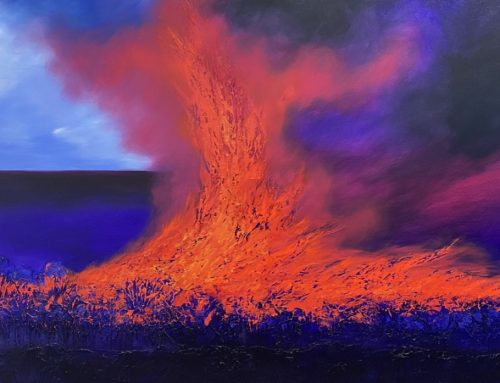 FIRE IN THE CANE FIELDS 122 X 182CM